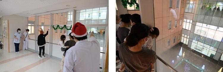病棟入院中のお子さん、ご家族とクリスマスイルミネーションを楽しみました